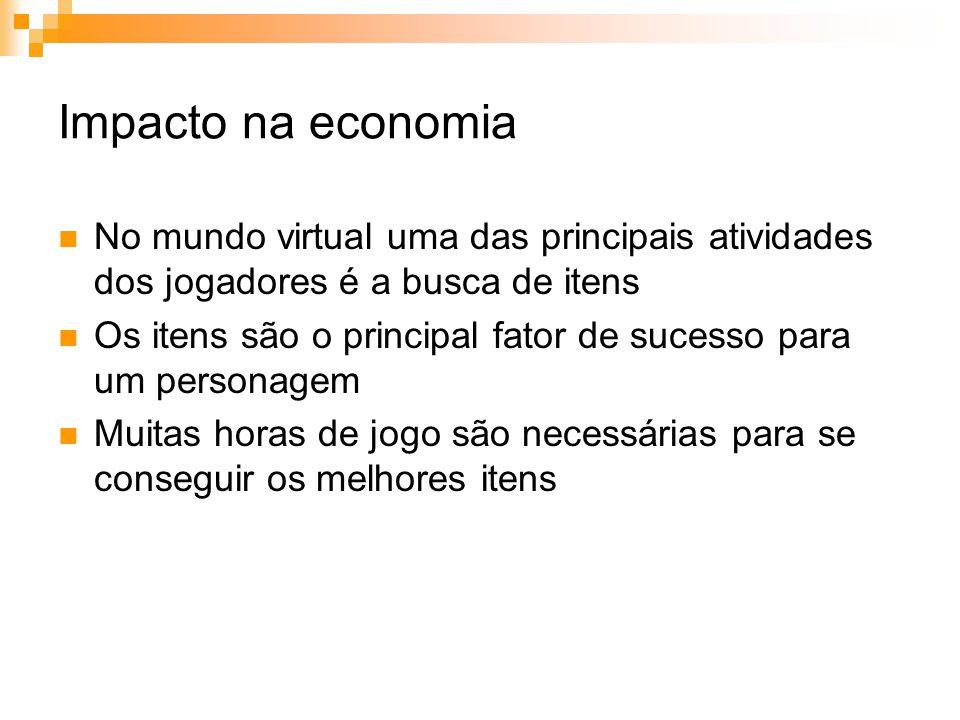 Impacto na economia No mundo virtual uma das principais atividades dos jogadores é a busca de itens.