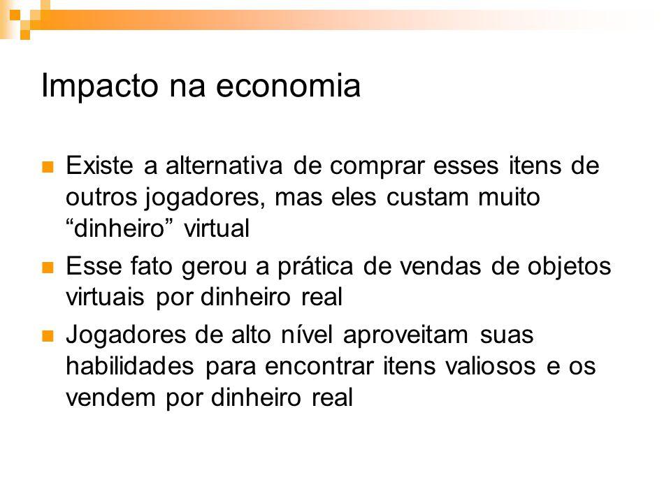 Impacto na economia Existe a alternativa de comprar esses itens de outros jogadores, mas eles custam muito dinheiro virtual.