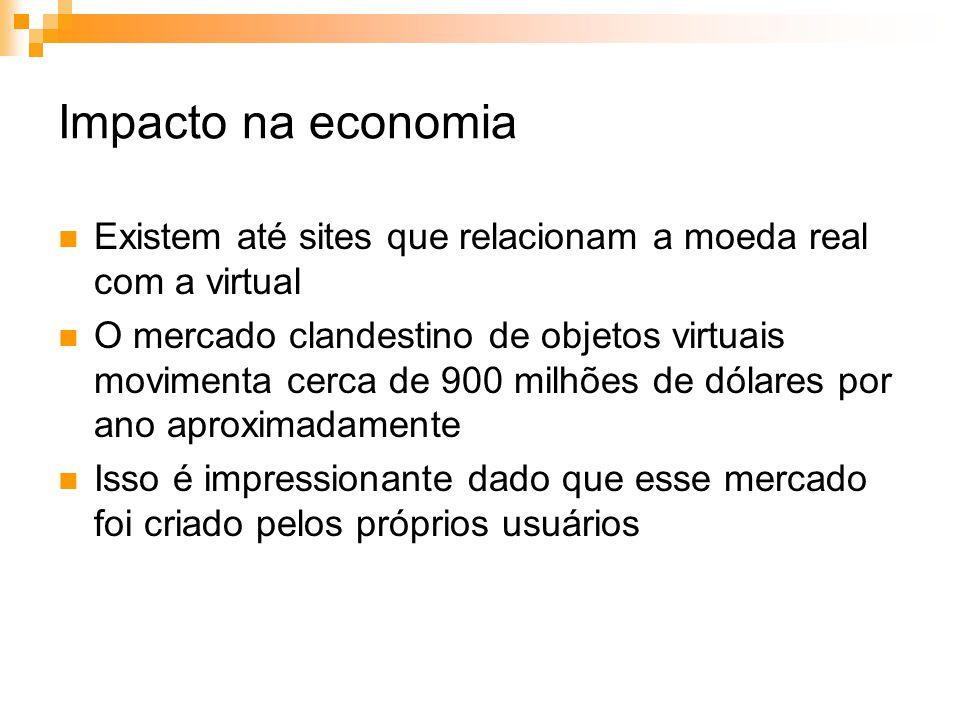 Impacto na economia Existem até sites que relacionam a moeda real com a virtual.