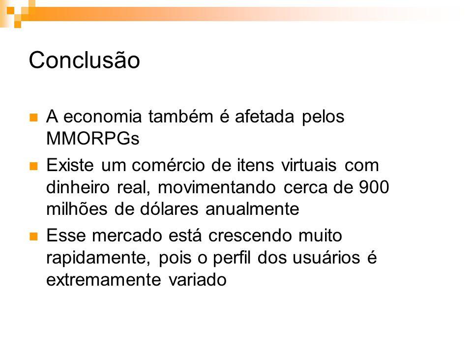 Conclusão A economia também é afetada pelos MMORPGs