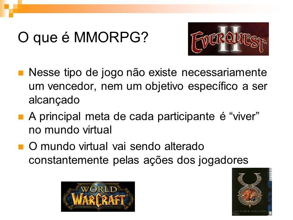 O que é MMORPG Nesse tipo de jogo não existe necessariamente um vencedor, nem um objetivo específico a ser alcançado.