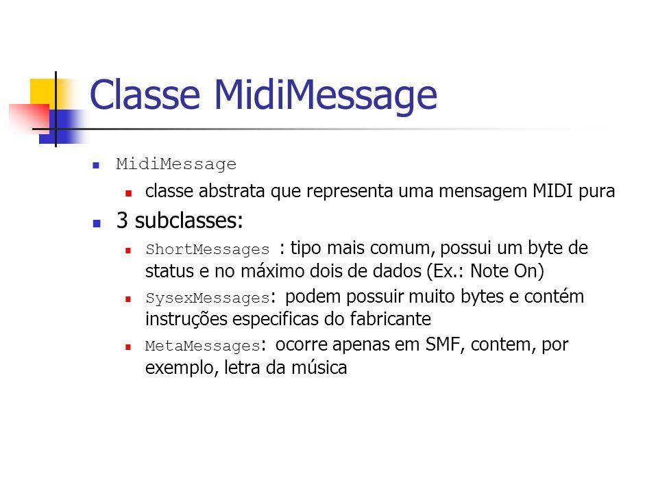 Classe MidiMessage 3 subclasses: MidiMessage