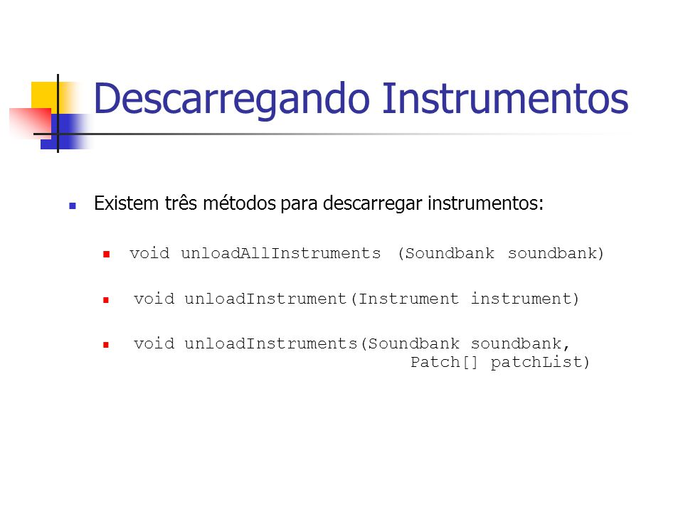 Descarregando Instrumentos