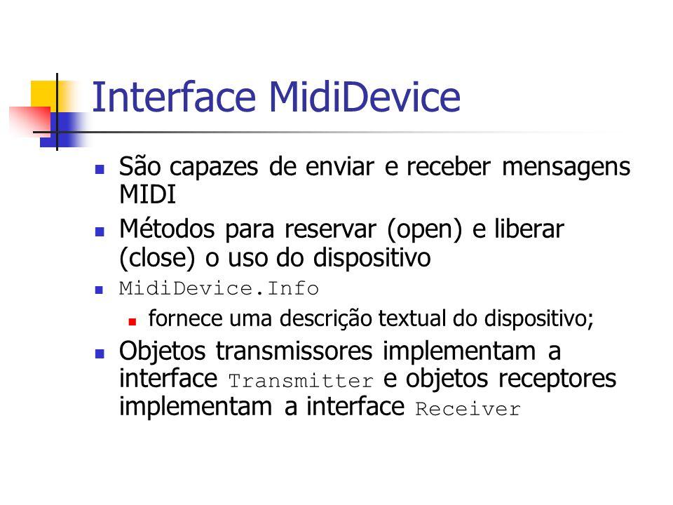 Interface MidiDevice São capazes de enviar e receber mensagens MIDI