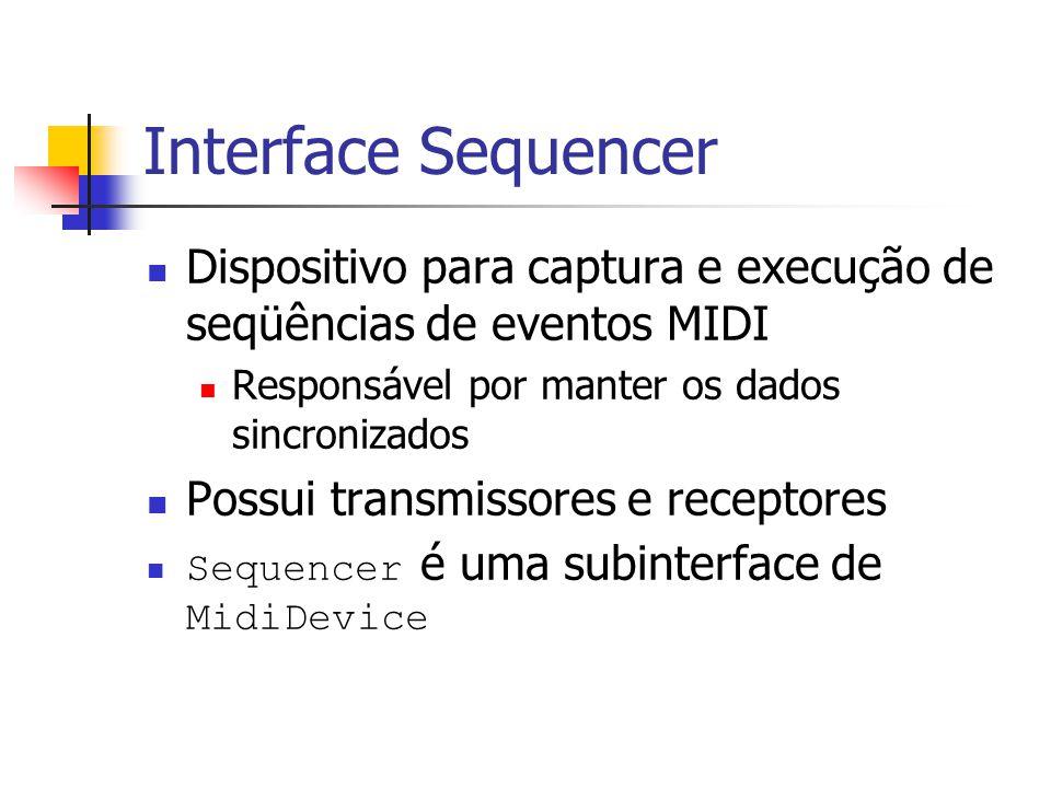 Interface Sequencer Dispositivo para captura e execução de seqüências de eventos MIDI. Responsável por manter os dados sincronizados.