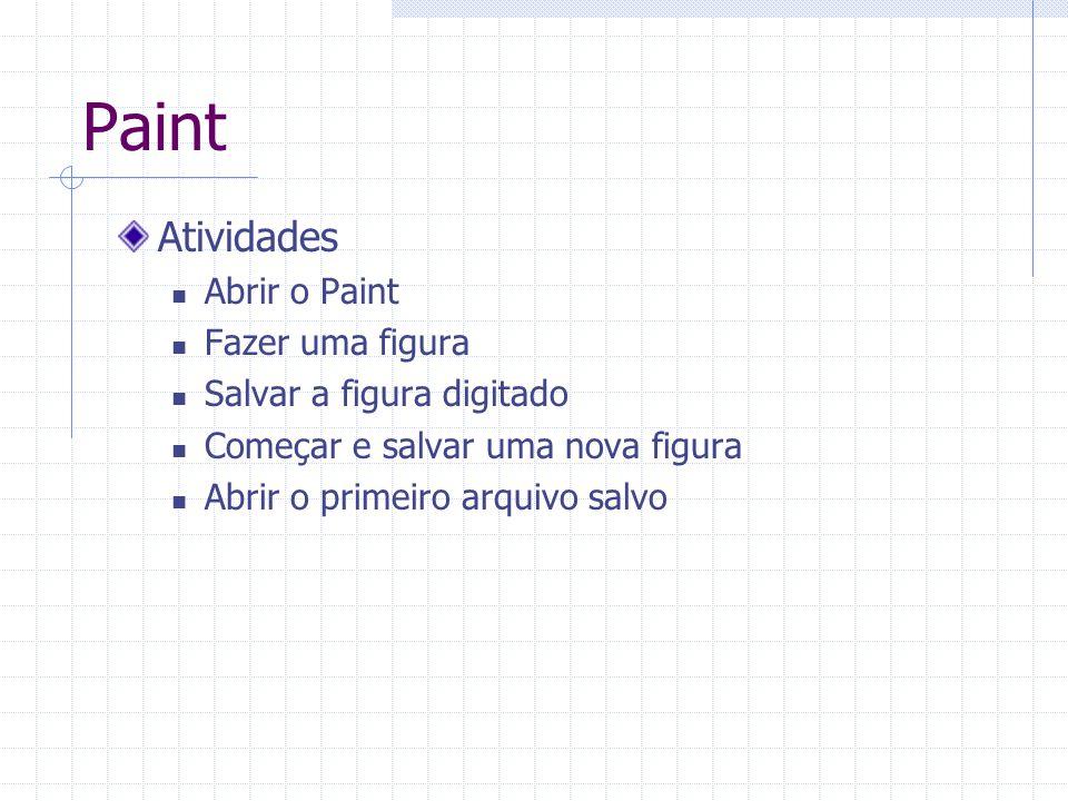Paint Atividades Abrir o Paint Fazer uma figura