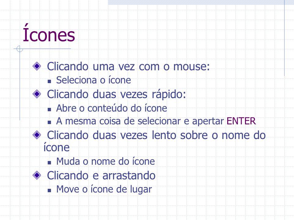 Ícones Clicando uma vez com o mouse: Clicando duas vezes rápido: