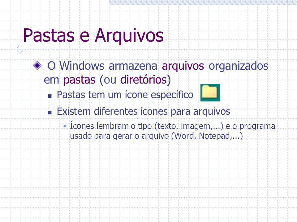 Pastas e Arquivos O Windows armazena arquivos organizados em pastas (ou diretórios) Pastas tem um ícone específico.