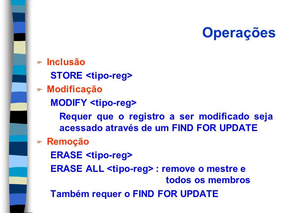 Operações Inclusão STORE <tipo-reg> Modificação
