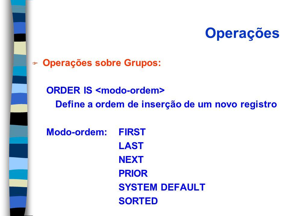 Operações Operações sobre Grupos: ORDER IS <modo-ordem>