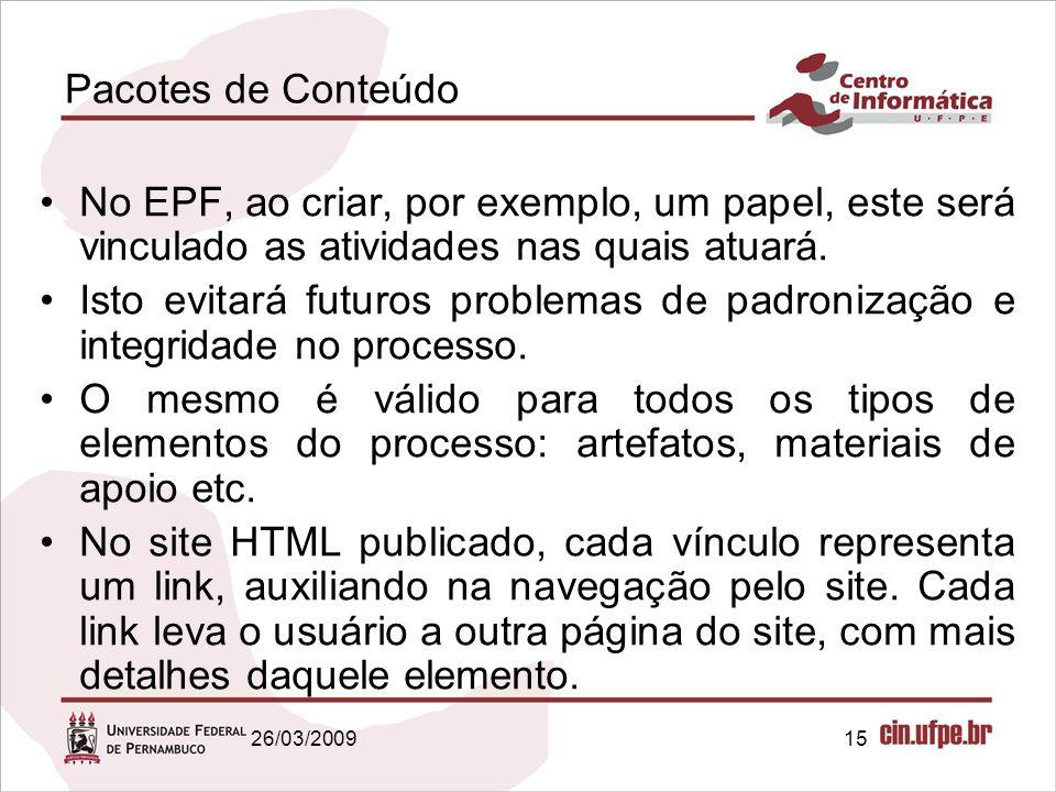 Pacotes de Conteúdo No EPF, ao criar, por exemplo, um papel, este será vinculado as atividades nas quais atuará.