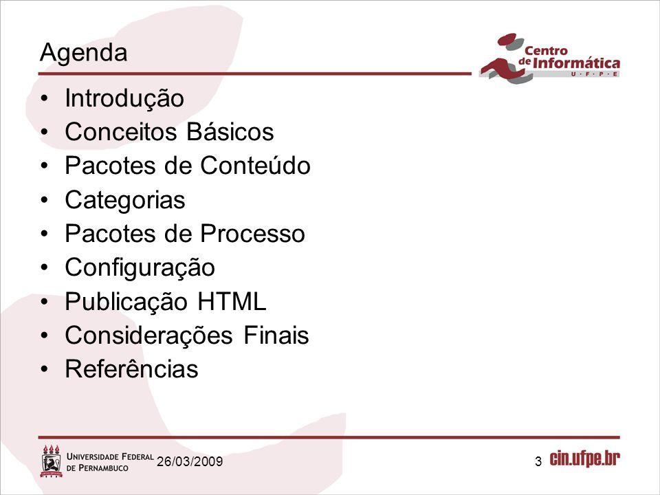 Agenda Introdução Conceitos Básicos Pacotes de Conteúdo Categorias