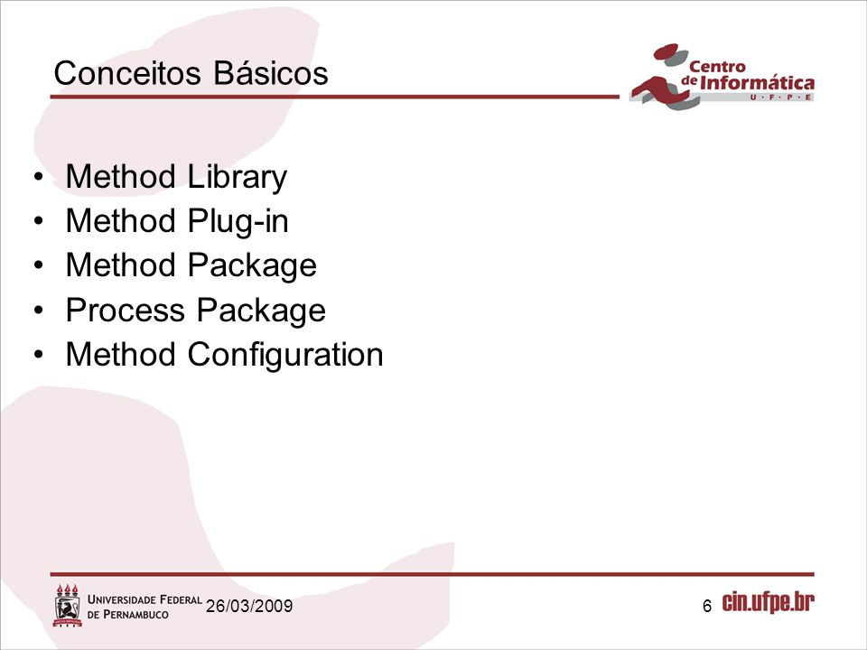 Conceitos Básicos Method Library Method Plug-in Method Package