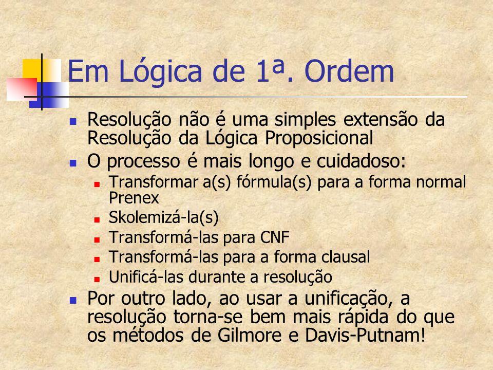 Em Lógica de 1ª. Ordem Resolução não é uma simples extensão da Resolução da Lógica Proposicional. O processo é mais longo e cuidadoso: