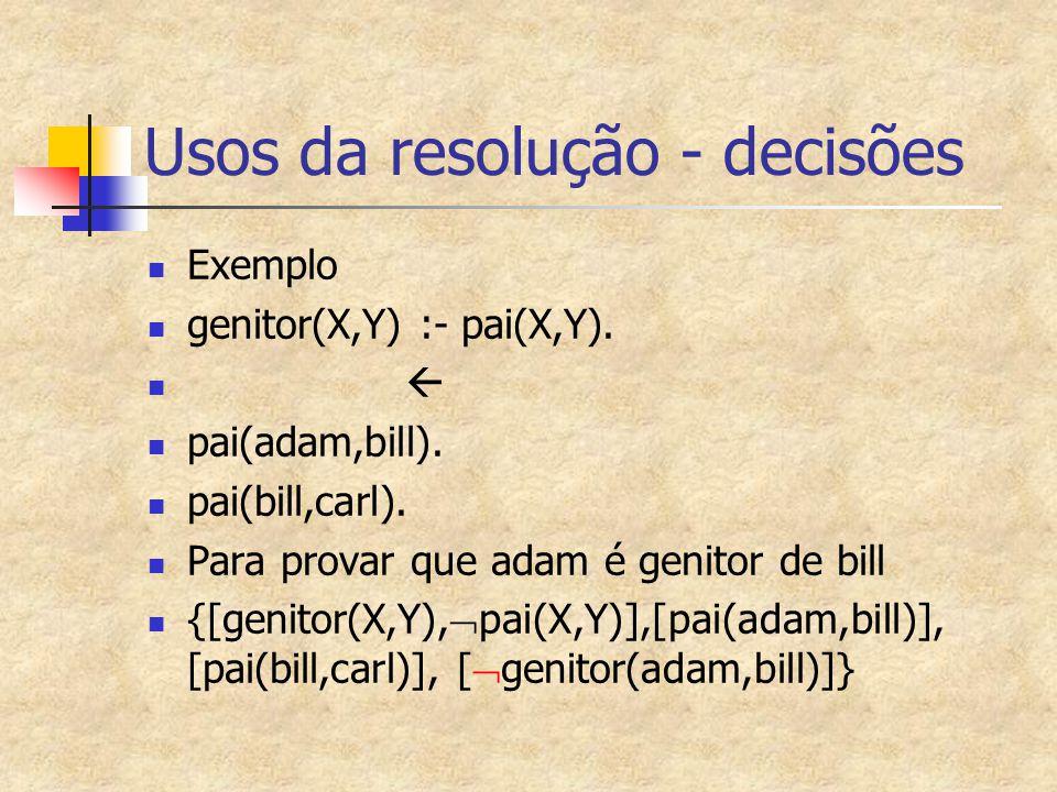 Usos da resolução - decisões