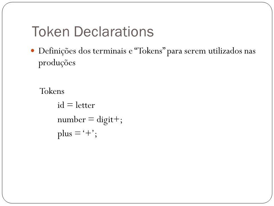 Token Declarations Definições dos terminais e Tokens para serem utilizados nas produções. Tokens.