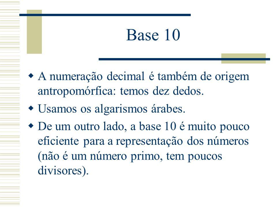 Base 10 A numeração decimal é também de origem antropomórfica: temos dez dedos. Usamos os algarismos árabes.