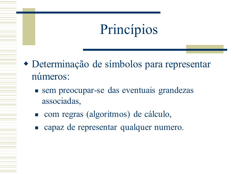 Princípios Determinação de símbolos para representar números: