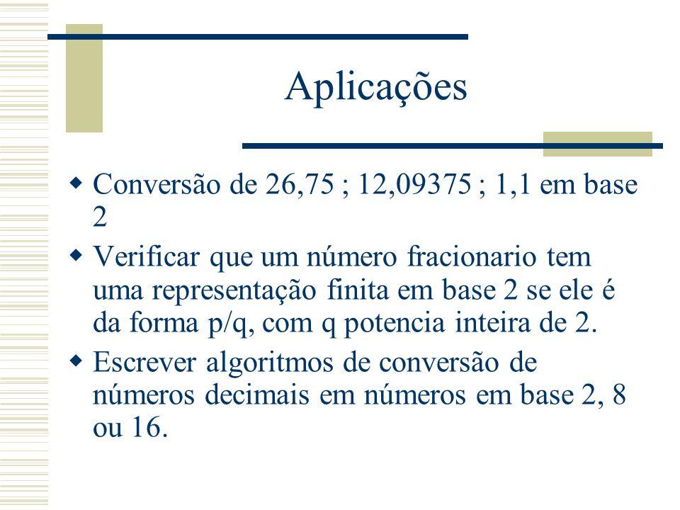 Aplicações Conversão de 26,75 ; 12,09375 ; 1,1 em base 2