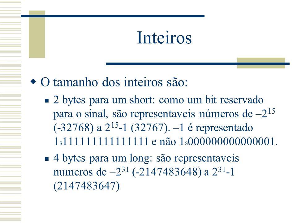 Inteiros O tamanho dos inteiros são:
