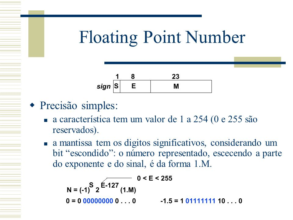 Floating Point Number Precisão simples: