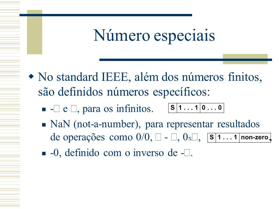 Número especiais No standard IEEE, além dos números finitos, são definidos números específicos: -¥ e ¥, para os infinitos.