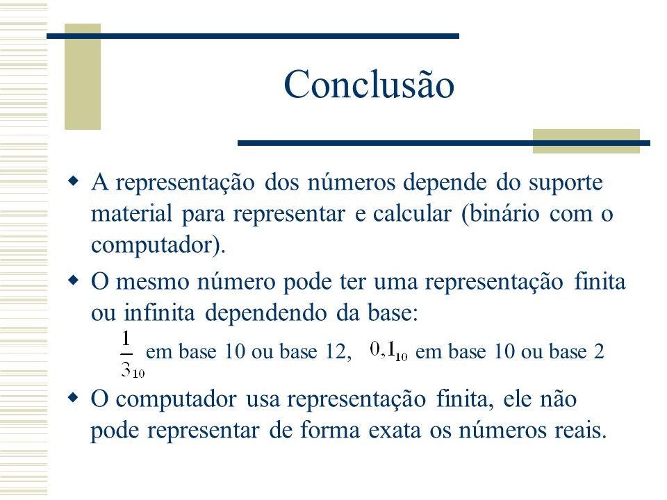 Conclusão A representação dos números depende do suporte material para representar e calcular (binário com o computador).