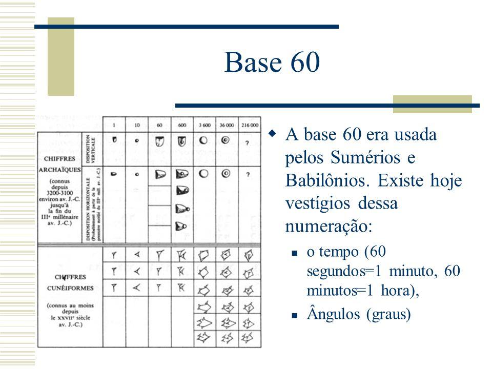 Base 60 A base 60 era usada pelos Sumérios e Babilônios. Existe hoje vestígios dessa numeração: o tempo (60 segundos=1 minuto, 60 minutos=1 hora),