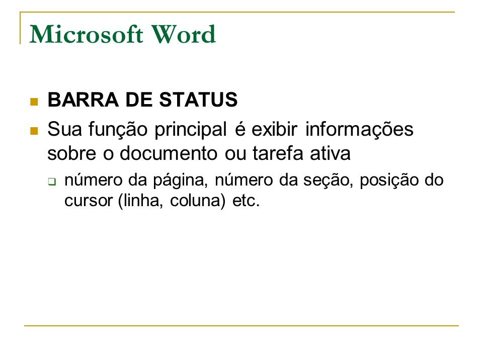 Microsoft Word BARRA DE STATUS