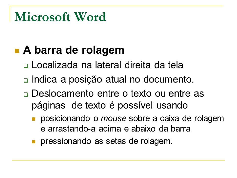 Microsoft Word A barra de rolagem