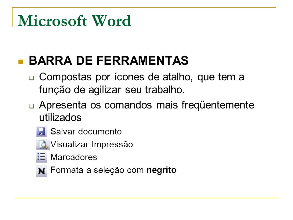 Microsoft Word BARRA DE FERRAMENTAS