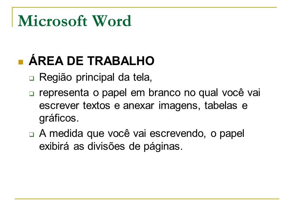 Microsoft Word ÁREA DE TRABALHO Região principal da tela,