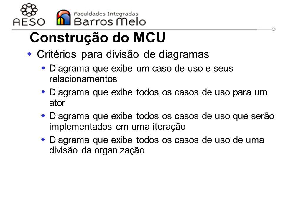Construção do MCU Critérios para divisão de diagramas