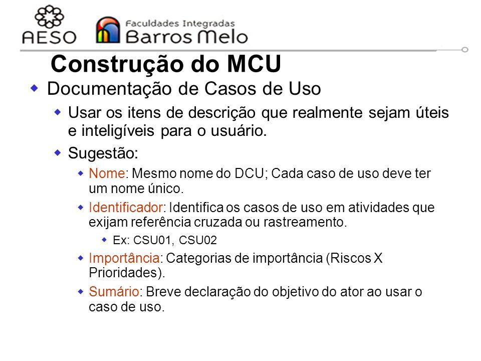 Construção do MCU Documentação de Casos de Uso