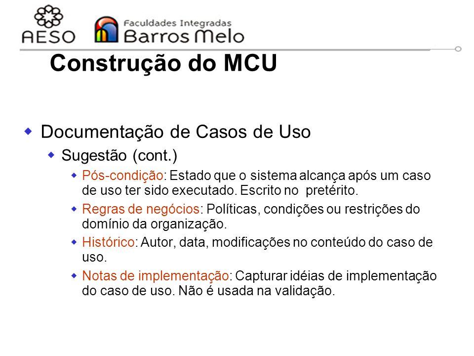 Construção do MCU Documentação de Casos de Uso Sugestão (cont.)