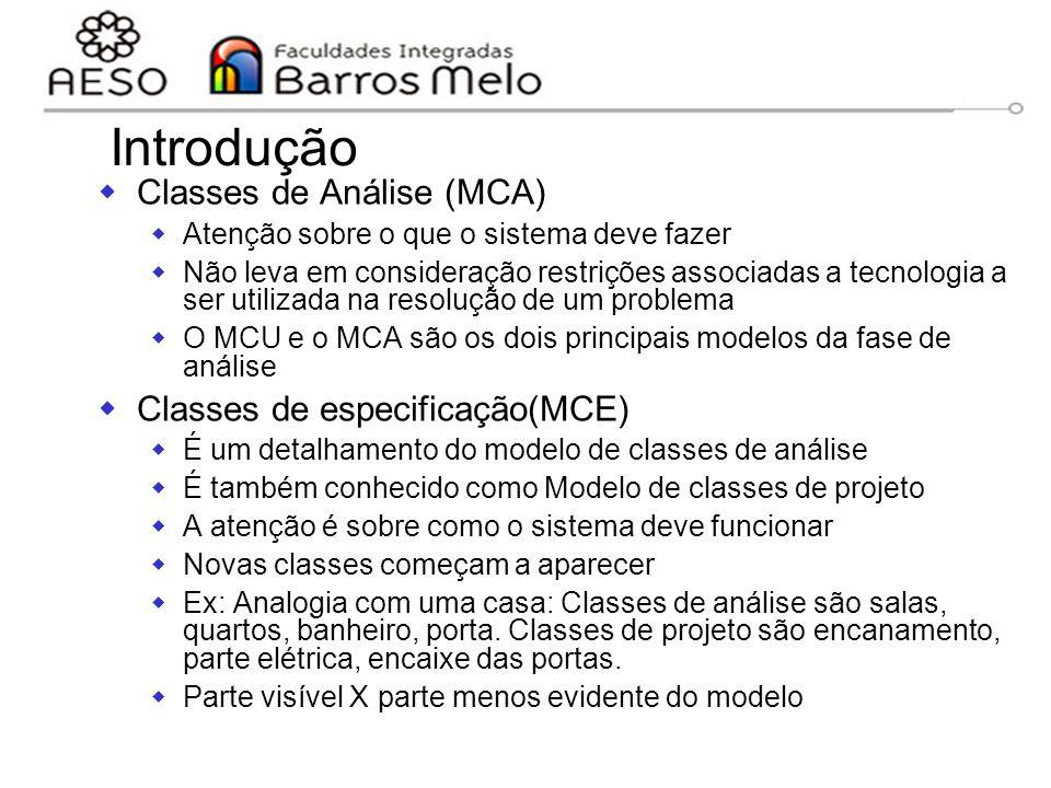 Introdução Classes de Análise (MCA) Classes de especificação(MCE)
