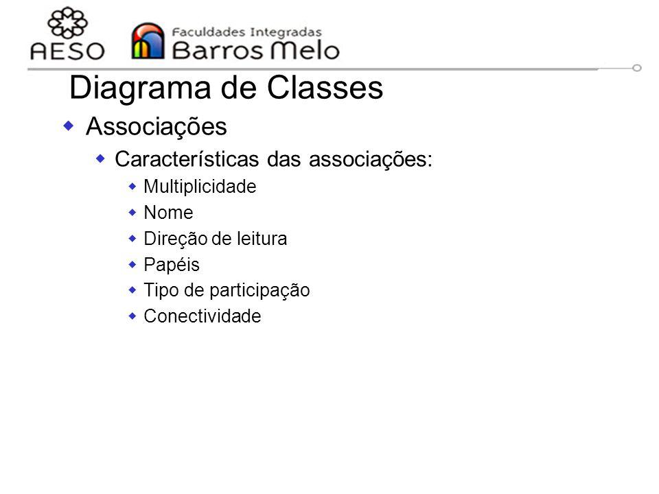 Diagrama de Classes Associações Características das associações: