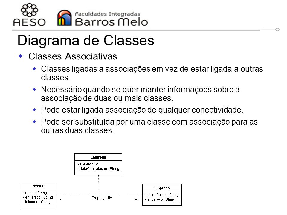 Diagrama de Classes Classes Associativas