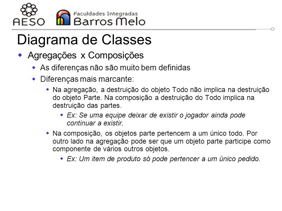 Diagrama de Classes Agregações x Composições