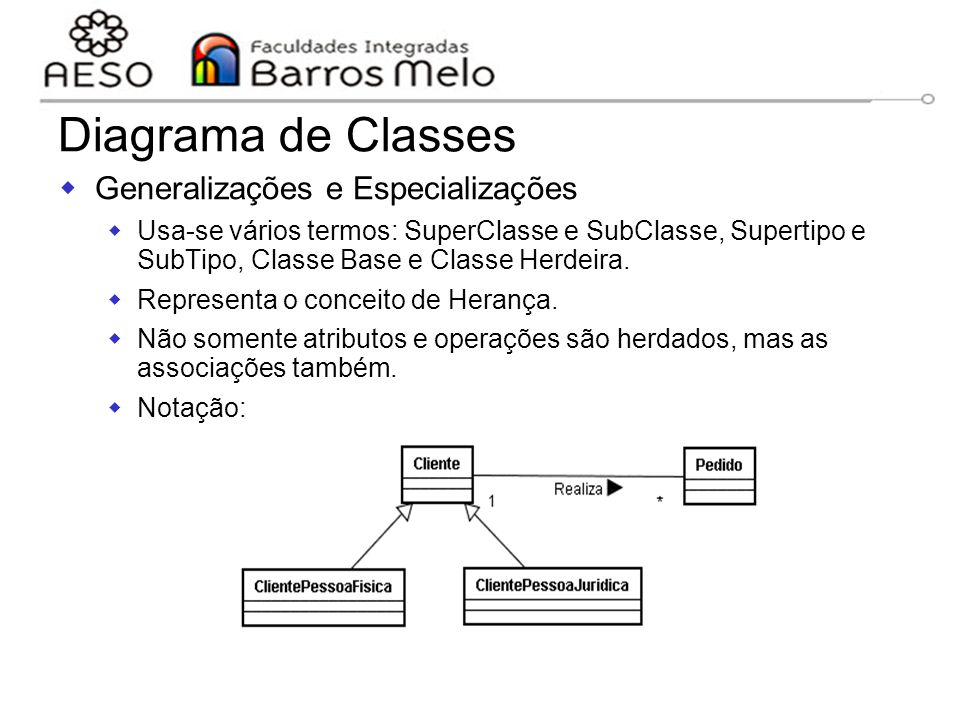 Diagrama de Classes Generalizações e Especializações