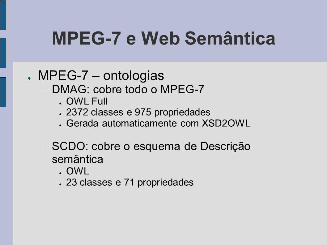 MPEG-7 e Web Semântica MPEG-7 – ontologias DMAG: cobre todo o MPEG-7