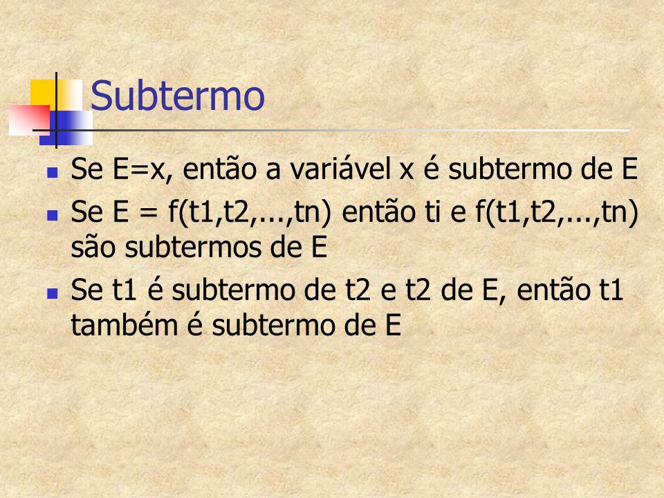 Subtermo Se E=x, então a variável x é subtermo de E