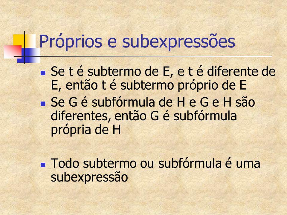 Próprios e subexpressões