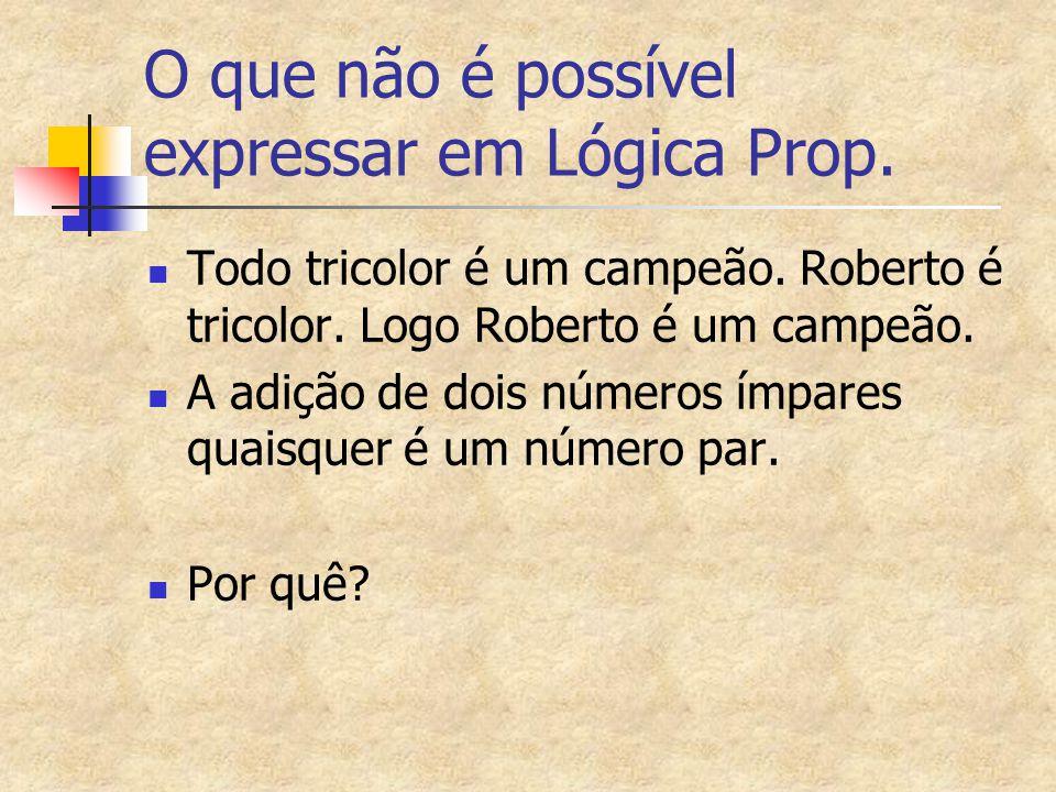 O que não é possível expressar em Lógica Prop.