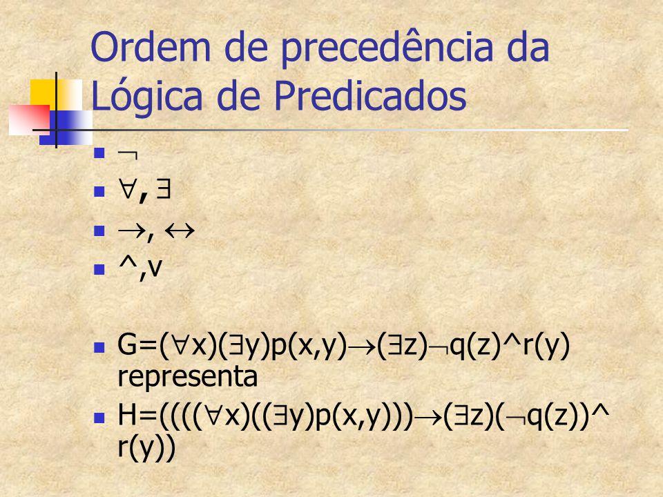 Ordem de precedência da Lógica de Predicados