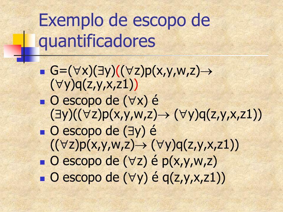 Exemplo de escopo de quantificadores
