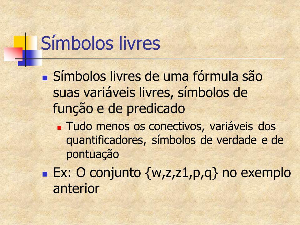 Símbolos livres Símbolos livres de uma fórmula são suas variáveis livres, símbolos de função e de predicado.