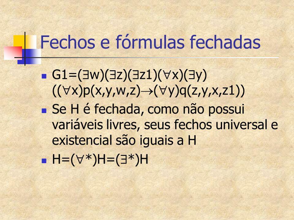 Fechos e fórmulas fechadas
