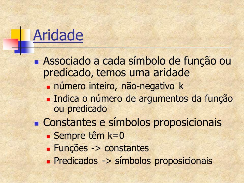 Aridade Associado a cada símbolo de função ou predicado, temos uma aridade. número inteiro, não-negativo k.