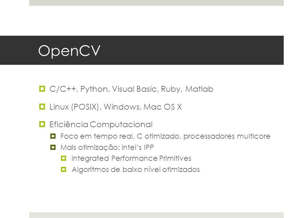 OpenCV C/C++, Python, Visual Basic, Ruby, Matlab